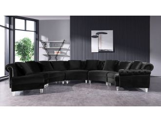 Divani Casa Darla - Modern Black Velvet Circular Sectional Sofa