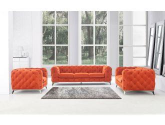Divani Casa Delilah - Modern Orange Fabric Sofa Set