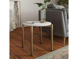 Modrest Denzel - White Marble + Gold End Table