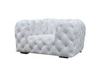 Divani Casa Dexter - Transitional White Full Italian Leather Lounge Chair