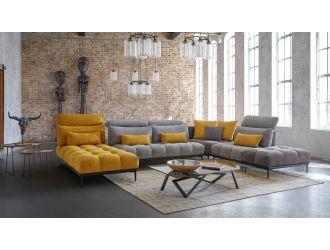 David Ferrari Display - Italian Modern Grey + Yellow Fabric Modular Sectional Sofa