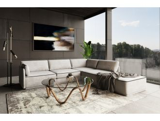 Divani Casa Blythe - Modern Light Grey Velvet Sectional Sofa  + Ottoman