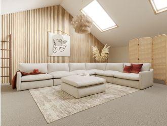 Divani Casa Fedora - Modern White Fabric Sectional Sofa + Ottoman