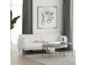 Divani Casa Higgins - Modern White Fabric Sofa