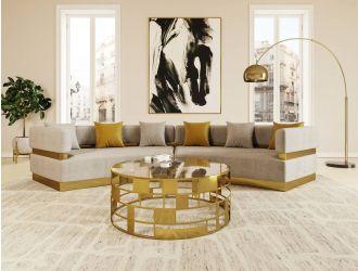 Divani Casa Kiva - Glam Beige + Gold Fabric Curved Sectional Sofa