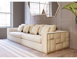 Divani Casa Mobray - Glam Beige and Gold Fabric Sofa