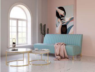 Divani Casa Mosko - Modern Light Green & Gold Fabric Sofa