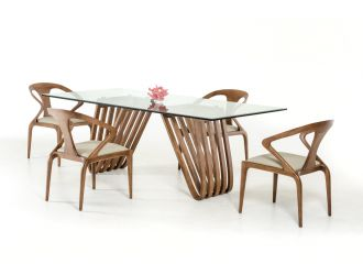 Modrest Draper Mid-Century Walnut & Glass Dining Table