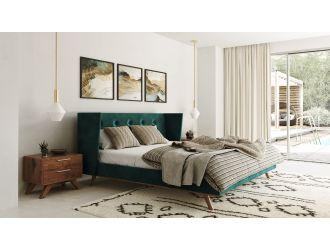 Nova Domus Durango Modern Green Fabric & Walnut Bed