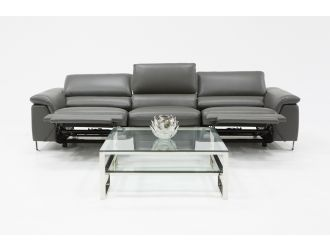 Divani Casa Maine Modern Grey Eco-Leather Sectional Sofa w/ Electric Recliners