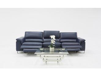Divani Casa Maine Modern Blue Eco-Leather Sofa w/ Electric Recliners