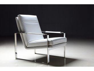 Divani Casa Maru Modern White Leatherette Accent Chair