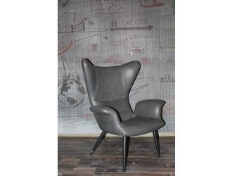 Divani Casa Slater Modern Dark Grey Leatherette Lounge Chair