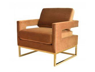 Modrest Edna - Camel Velvet + Gold Accent Chair