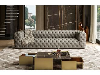 Coronelli Collezioni Ellington - Italian Grey Nubuck Leather 4-Seater Sofa