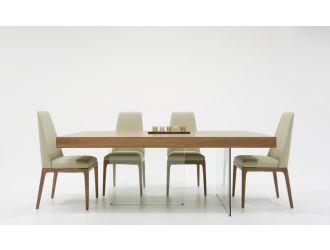 Modrest Encino Modern Walnut & Glass Dining Table