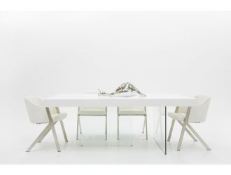 Modrest Encino Modern White & Glass Dining Table