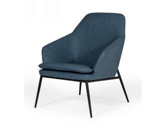 Modrest Esteban - Industrial Blue Eco-Leather Accent Chair