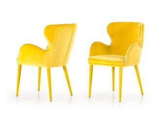 Modrest Tigard Mid-Century Yellow Fabric Dining Chair