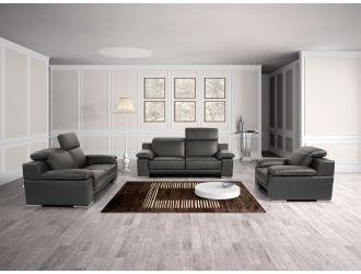 Estro Salotti Evergreen Modern Black Italian Leather Sofa Set
