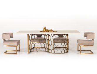 Modrest Faye Modern White Concrete & Antique Brass Dining Table