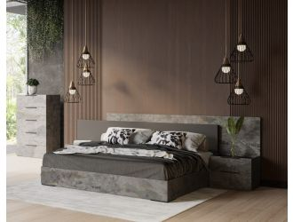Nova Domus Ferrara - Modern Volcano Oxide Grey Bed + Nightstands