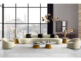 Divani Casa Frontier - Glam Beige Fabric Curved Sectional Sofa