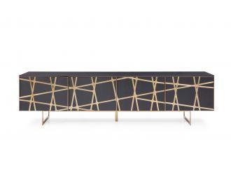 Modrest Kilson - Modern Black Oak & Champagne Gold TV Stand