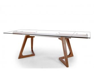 Modrest Ruth Modern Extendable Glass & Walnut Dining Table