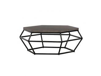 Modrest Tartan Modern Concrete & Black Metal Coffee Table