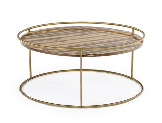 Modrest Gilcrest - Glam Brown and Gold Marble Coffee Table