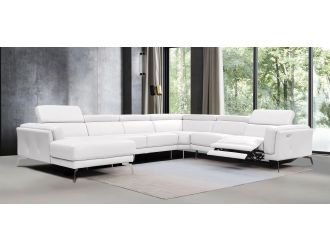 Divani Casa Gilsum - White Modern Leather U Shaped Sectional Sofa with Recliner