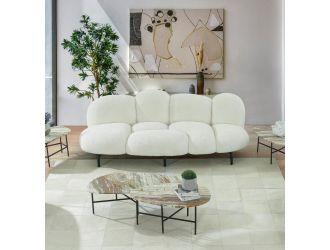 """Divani Casa Glaster - Contemporary White Sherpa 88"""" Bubble Sofa"""