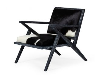 Modrest Hallam - Glam Black and White Cowhide Accent Chair