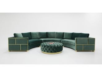 Divani Casa - Ritner Modern Green Velvet Curved Sectional Sofa