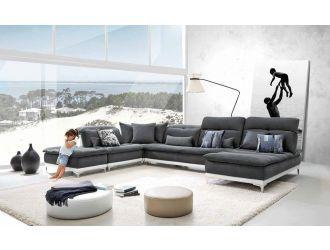 David Ferrari Horizon - Modern Grey Fabric + White Leather U Shaped Sectional Sofa