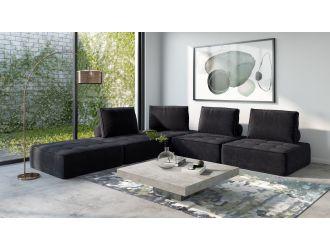 Divani Casa Nolden - Modern Black Fabric Modular Sectional Sofa