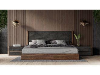 Nova Domus Rado - Modern Walnut & Volcanic Slate Bed