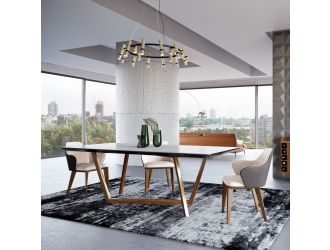 Modrest James - Contemporary Walnut & White Dining Table
