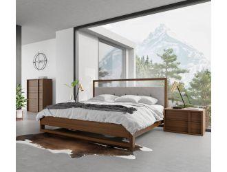 Nova Domus Falcor - Modern Grey Fabric & Walnut Veneer Bed