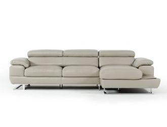 Estro Salotti Invictus - Modern Grey Leather Right Facing Sectional Sofa