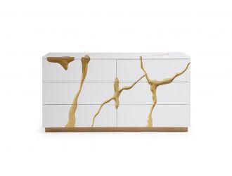Modrest Aspen Modern White & Gold Dresser