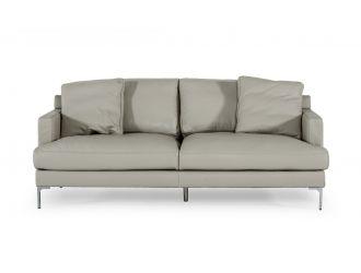 Divani Casa Janina - Modern Light Grey Leather Sofa