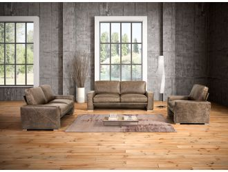 Estro Salotti Java Modern Taupe Italian Leather Sofa Set