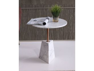 Modrest Jeanette - Contemporary White Marble & Rosegold End Table