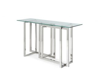 Modrest Valiant Modern Glass & Stainless Steel Console Table