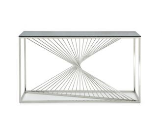 Modrest Trinity Modern Glass & Stainless Steel Console Table