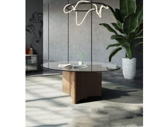 "Modrest Kaye - Modern Walnut + Glass 59"" Round Dining Table"