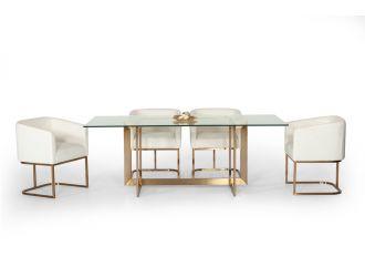 Modrest Keaton Modern Glass & Brass Dining Table