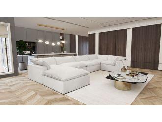 Divani Casa Kellogg - Modern White U Shaped Feather Sectional Sofa